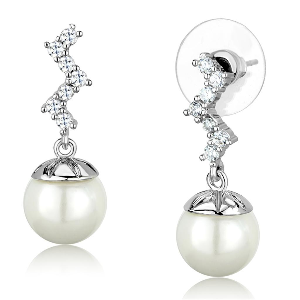 3W894 - Rhodium Brass Earrings with Synthetic Pearl in White
