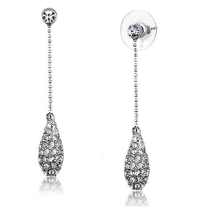 3W898 - Rhodium Brass Earrings with Top Grade Crystal  in Clear