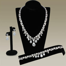 Load image into Gallery viewer, 3W925 - Rhodium Brass Jewelry Sets with AAA Grade CZ  in Clear