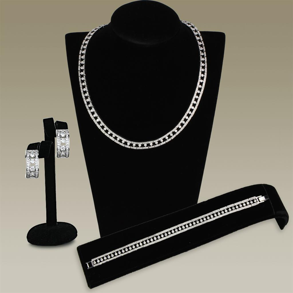3W944 - Rhodium Brass Jewelry Sets with AAA Grade CZ  in Clear