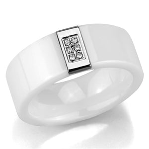 3W952 - High polished (no plating) Stainless Steel Ring with Ceramic  in White