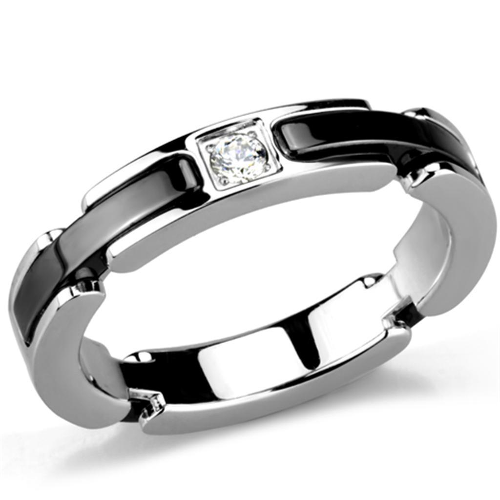 3W962 - High polished (no plating) Stainless Steel Ring with Ceramic  in Jet