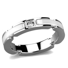 Load image into Gallery viewer, 3W963 - High polished (no plating) Stainless Steel Ring with Ceramic  in White