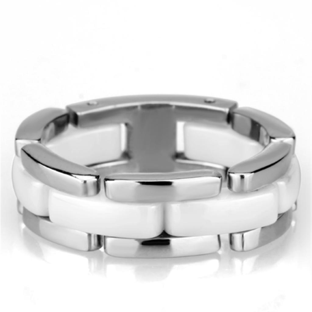 3W973 - High polished (no plating) Stainless Steel Ring with Ceramic  in White