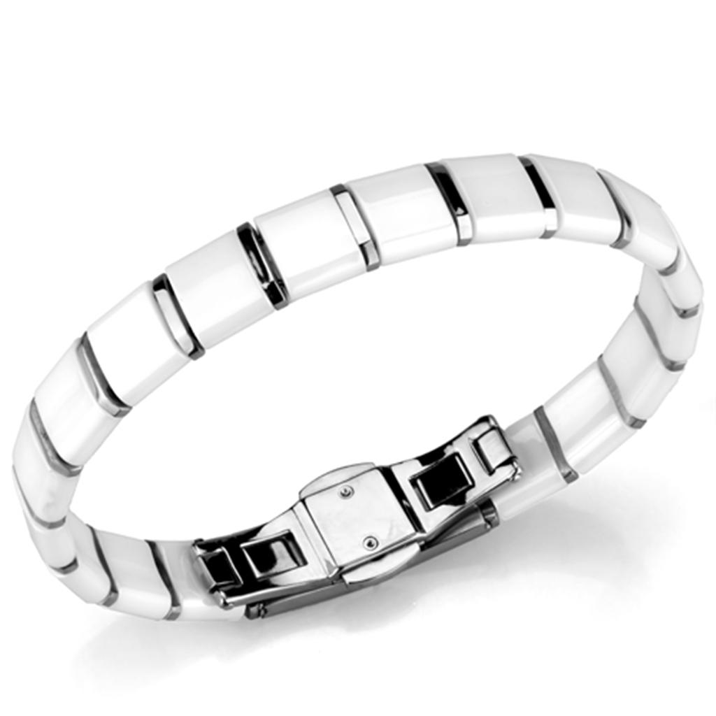 3W985 - High polished (no plating) Stainless Steel Bracelet with Ceramic  in White