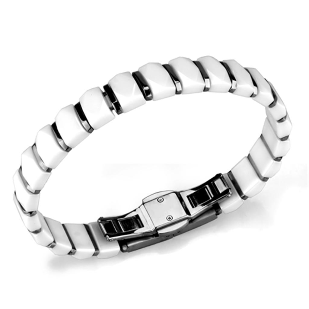 3W991 - High polished (no plating) Stainless Steel Bracelet with Ceramic  in White