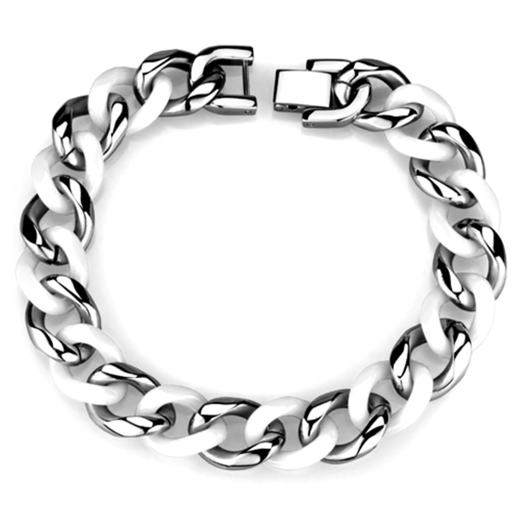 3W999 - High polished (no plating) Stainless Steel Bracelet with Ceramic  in White