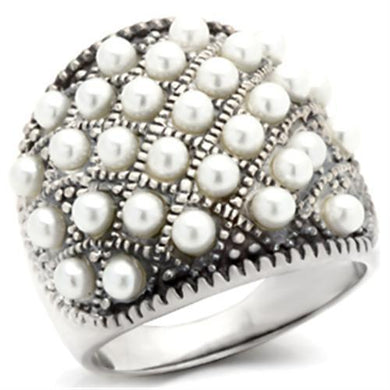 410108 Antique Tone 925 Sterling Silver Ring with Synthetic in White