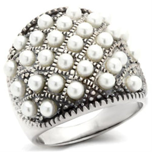410108 - Antique Tone 925 Sterling Silver Ring with Synthetic Pearl in White