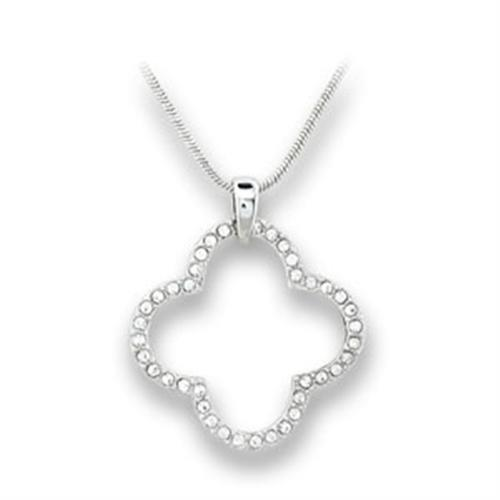 410806 - Rhodium Brass Pendant with Top Grade Crystal  in Clear