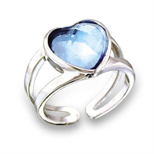 411813 - Rhodium Brass Ring with Top Grade Crystal  in Sea Blue
