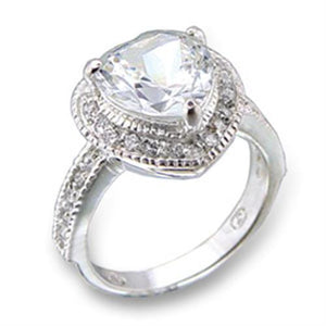 413414 - High-Polished 925 Sterling Silver Ring with AAA Grade CZ  in Clear