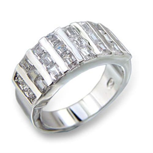 413602 - Rhodium Brass Ring with AAA Grade CZ  in Clear
