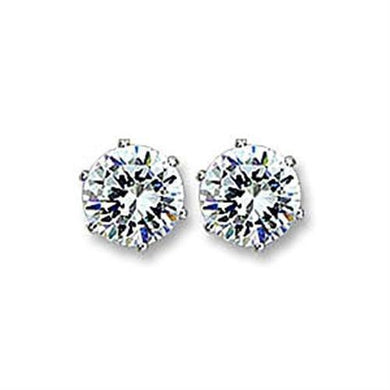 415101 - Rhodium Brass Earrings with AAA Grade CZ  in Clear