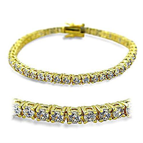415904 - Gold Brass Bracelet with AAA Grade CZ  in Clear