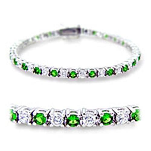 46906 - Rhodium Brass Bracelet with Synthetic Spinel in Emerald