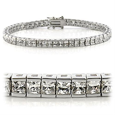47102 - Rhodium Brass Bracelet with AAA Grade CZ  in Clear