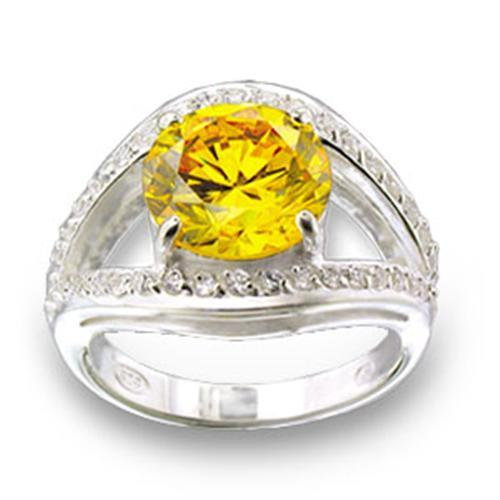 49505 - High-Polished 925 Sterling Silver Ring with AAA Grade CZ  in Topaz