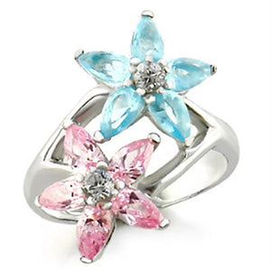49811 - High-Polished 925 Sterling Silver Ring with AAA Grade CZ  in Multi Color