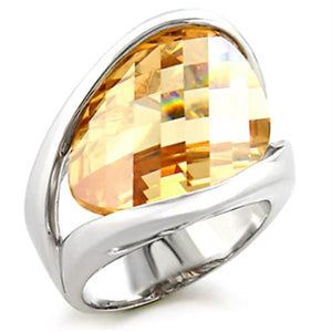 56307 - Rhodium Brass Ring with AAA Grade CZ  in Champagne