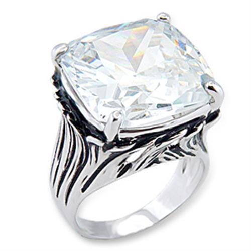 56318 - Rhodium Brass Ring with AAA Grade CZ  in Clear
