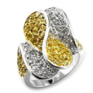 60118 - Gold+Rhodium Brass Ring with AAA Grade CZ  in Topaz