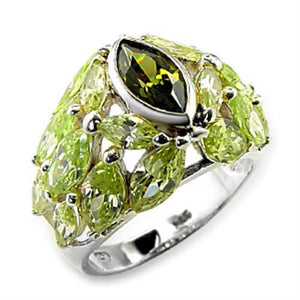 60618 - High-Polished 925 Sterling Silver Ring with AAA Grade CZ  in Multi Color