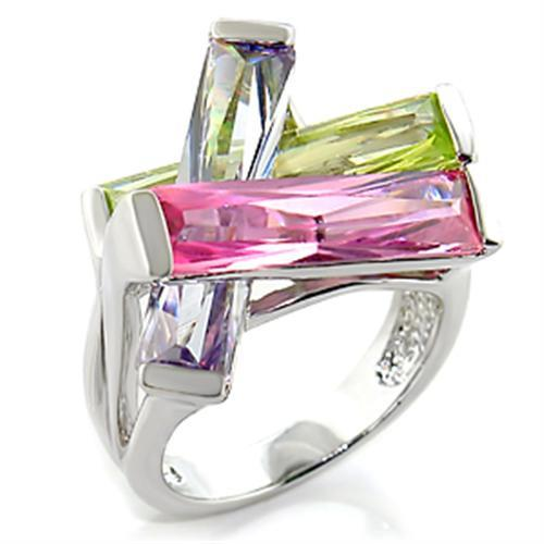 6X004 - Rhodium Brass Ring with AAA Grade CZ  in Multi Color