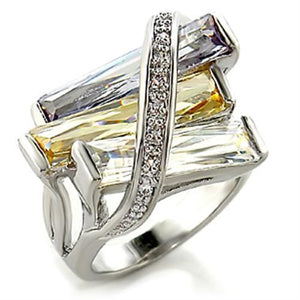 6X016 - Rhodium Brass Ring with AAA Grade CZ  in Multi Color
