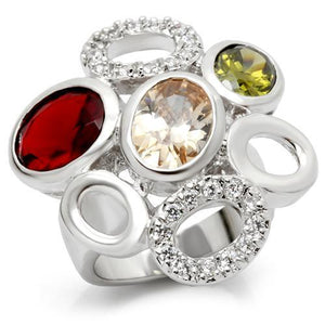 6X021 - Rhodium Brass Ring with AAA Grade CZ  in Multi Color