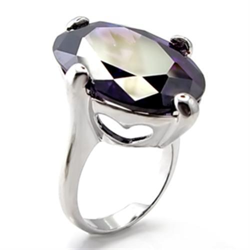 6X025 - Rhodium Brass Ring with AAA Grade CZ  in Amethyst