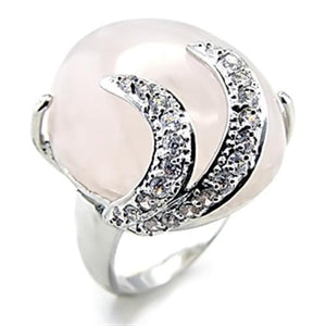 6X028 - Rhodium Brass Ring with Precious Stone PINK CRYSTAL in Light Rose