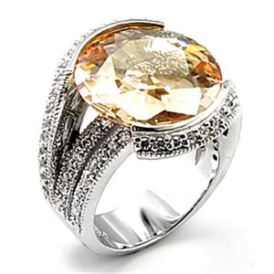 6X045 - Rhodium Brass Ring with AAA Grade CZ  in Champagne