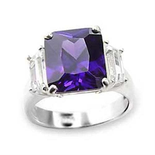 6X057 - High-Polished 925 Sterling Silver Ring with AAA Grade CZ  in Amethyst