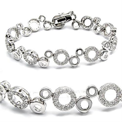 6X104 High-Polished 925 Sterling Silver Bracelet with AAA Grade CZ in Clear