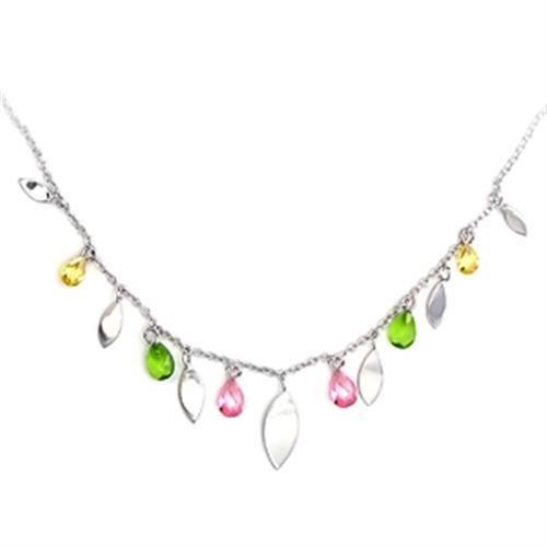 6X106 - High-Polished 925 Sterling Silver Necklace with AAA Grade CZ  in Multi Color