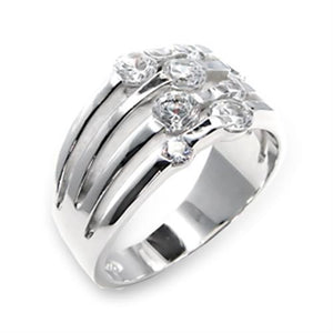 6X197 - High-Polished 925 Sterling Silver Ring with AAA Grade CZ  in Clear