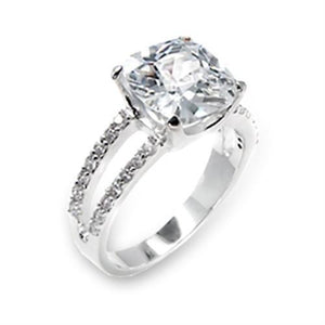 6X202 - High-Polished 925 Sterling Silver Ring with AAA Grade CZ  in Clear