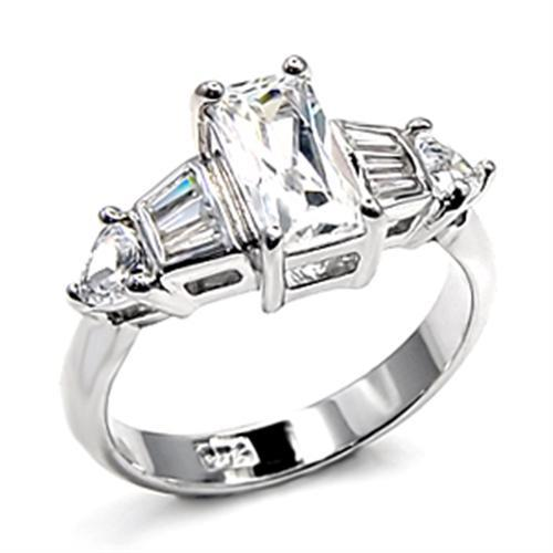 6X511 - Rhodium 925 Sterling Silver Ring with AAA Grade CZ  in Clear