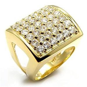 7X003 - Gold Brass Ring with AAA Grade CZ  in Clear