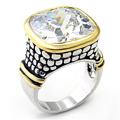 7X047 - Reverse Two-Tone Brass Ring with AAA Grade CZ  in Clear