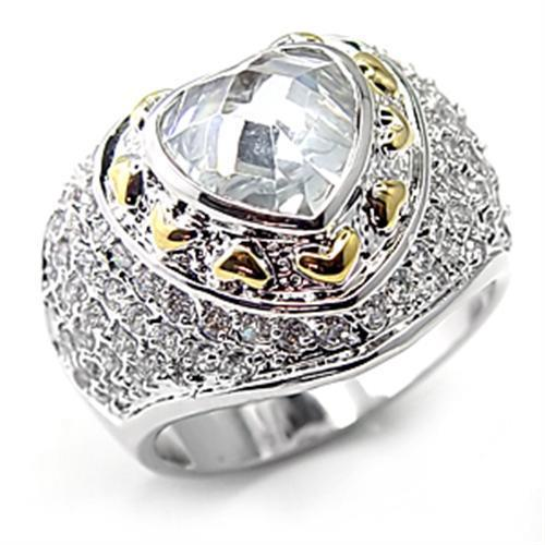 7X066 - Reverse Two-Tone Brass Ring with AAA Grade CZ  in Clear