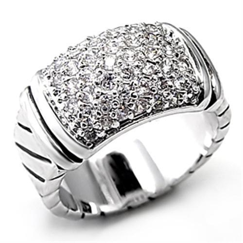 7X080 - Rhodium Brass Ring with AAA Grade CZ  in Clear