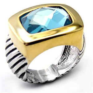 7X119 - Reverse Two-Tone Brass Ring with Semi-Precious Spinel in London Blue