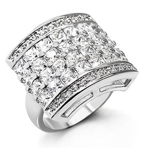 7X146 - Rhodium Brass Ring with AAA Grade CZ  in Clear