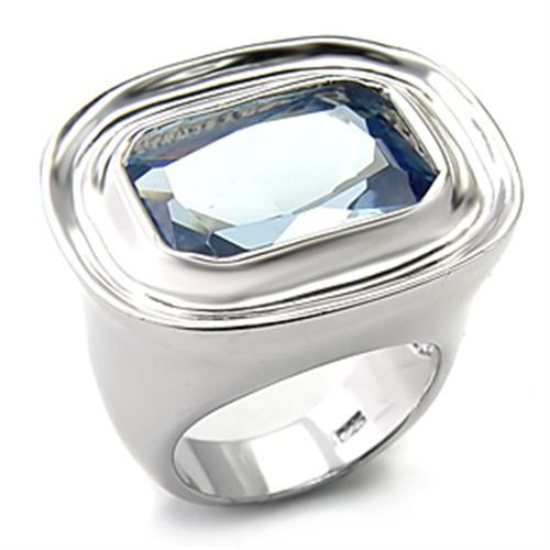 7X165 - Rhodium 925 Sterling Silver Ring with Synthetic Spinel in Sea Blue