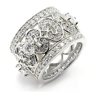 7X182 - Rhodium 925 Sterling Silver Ring with AAA Grade CZ  in Clear