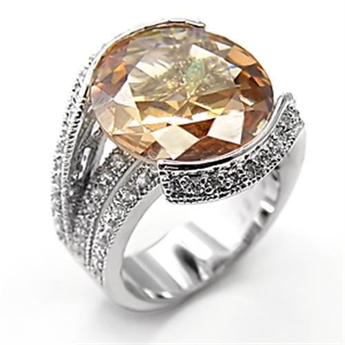 7X192 - Rhodium 925 Sterling Silver Ring with AAA Grade CZ  in Champagne