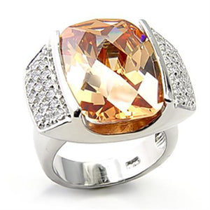 7X194 - Rhodium 925 Sterling Silver Ring with AAA Grade CZ  in Champagne