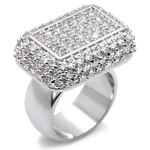 7X196 - Rhodium 925 Sterling Silver Ring with AAA Grade CZ  in Clear